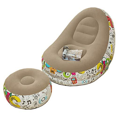 SUFUBAI Sofá inflable de la silla del aire de la tumbona, plegable que floca, silla inflable del sofá del ocio y del reposapiés para la sala de estar