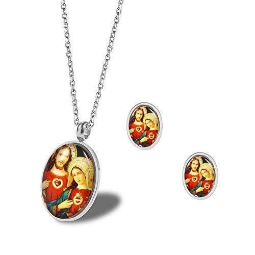 Burenqi Acero Inoxidable Católico Religioso Virgen María y Jesús Collar Pendientes Conjuntos de joyería Joyería Religiosa,Plata