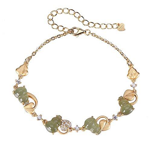 Armband Damen Silber 925 Jade Hu Lu Kürbis Anhänger Vintage Vergoldet Temperament Schmuck Jubiläum Geburtstag Geschenk,Gold
