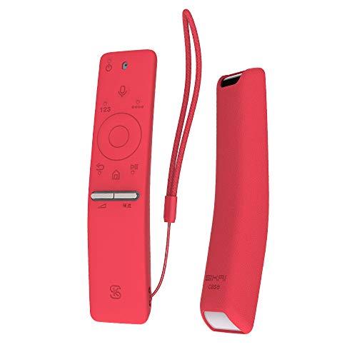 Funda para el Mando a Distancia Case Samsung 4K UHD Smart TV SIKAI Antideslizante de BN59-01259B BN59-01242A Silicona Carcasa Funda Case con Cordón respetuosa con el Medioambiente (Rojo)
