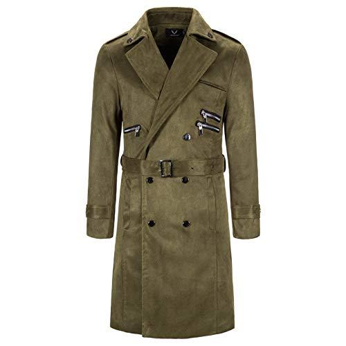 Mr.BaoLong&Miss.GO Autumn New Men Long Windbreaker Jacket Casual Large Size Long Windbreaker Woolen Coat Windbreaker Woolen Coat Green