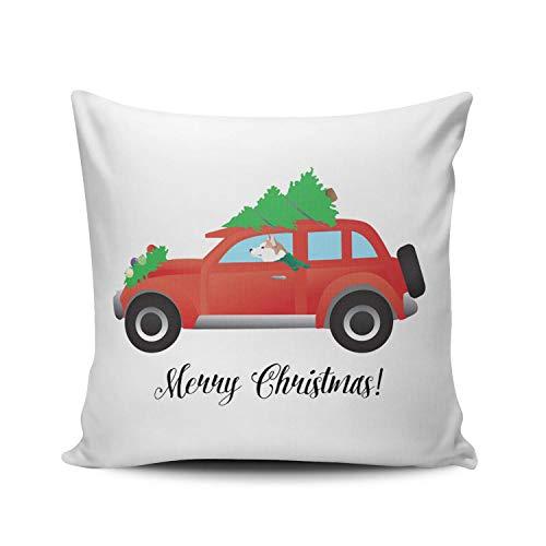 SUN DANCE Fundas de cojín para decoración de dormitorio, diseño de Husky en color rojo, para coche, de Navidad, doble cara, estampado europeo, 66 x 66 cm