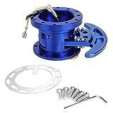 Kit de cubo de volante de acero inoxidable Kit de cubo de liberación rápida Adaptador extraíble de volante de carreras con inclinación invertida(azul)