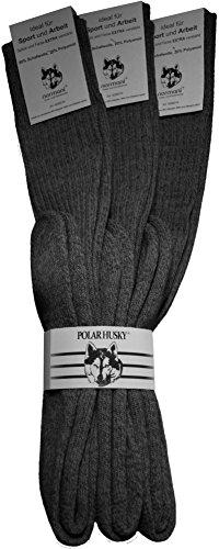 Polar Husky® 3 Paar Original Kniestrümpfe von normani® mit Schafwolle Farbe Anthrazit Größe 43/46