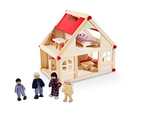 Glow2B Spielwaren 1000006 - Puppenhaus mit 9 Möbeln und 4 Puppen