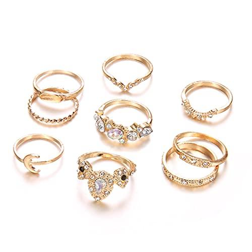 Belasa Juego de anillos para nudillos vintage con piedras preciosas doradas, anillo apilable para mujeres y niñas (paquete de 9)