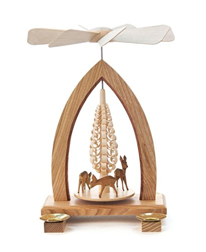 1-tier German Christmas Pyramid - Deer - 25cm / 10 inch - Dregeno Seiffen