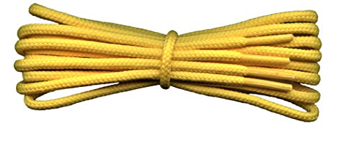 Fabmania Gelbe runde Schnürsenkel - 4 mm breit - geeignet für eine breite Palette von Stiefeln, einschließlich Wander- und Wanderschuhen / -stiefeln - Länge 140 cm