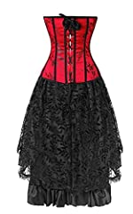 Kelvry Women's Basque Gothic Boned Lace Corsets and Steampunk Bustiers Dress with Skirt Plus Size Red-Black #1
