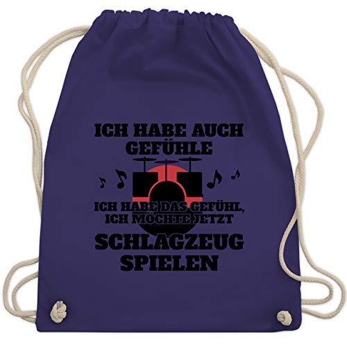 Shirtracer Instrumente - Ich habe auch Gefühle Schlagzeug - Unisize - Lila - instrumente turnbeutel - WM110 - Turnbeutel und Stoffbeutel aus Baumwolle
