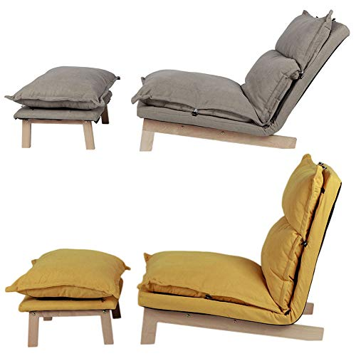 Dioche Lazy Sofá Recliner, sillón de relax con reposapiés, respaldo ajustable de madera de haya, para la oficina en casa (amarillo)