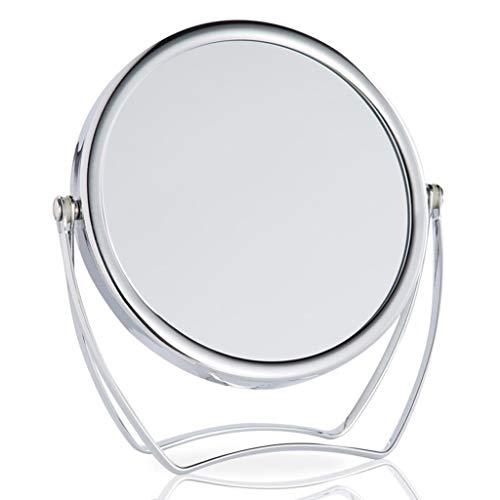 SYZHIWUJIA Espejo LED Espejo de Maquillaje Ligero, Cromado Doble Redondo Espejo de Maquillaje HD giratoria Claridad portátiles 4,9 Pulgadas Espejo para maquillarse (Color : Silver)