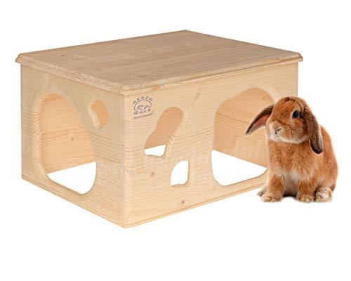 Resch Nr18 Kaninchenhöhle naturbelassenes Massivholz aus Fichte/großes Haus mit Zwei Eingängen im Höhlen-Design / 40x31x23 LxBxH