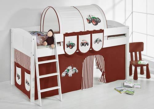 Lilokids Spielbett IDA 4106 Trecker Braun Beige-Teilbares Systemhochbett weiß-mit Vorhang Kinderbett, Holz, 208 x 98 x 113 cm