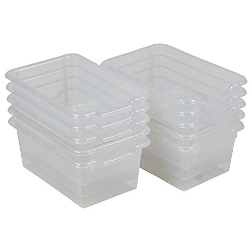 ECR4Kids ELR-0482-CL Scoop-Front Storage Bins, Easy-to-Grip Design Storage Cubbies, Kid Friendly and Built to Last, Pairs with ECR4Kids Storage Units, 10-Pack, Clear