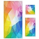 ZORMIEY Juego de 3 Toallas Decorativas Suaves y Altamente absorbentes con Estampado de líneas de Colores fractales de...
