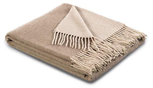 biederlack® samt weiche Kuschel-Decke Wool-Mix Natur-Sand I aus Wolle & Kaschmir I Öko-Tex Zertifiziert I Plaid in 130x170 cm | geeignet als Tagesdecke & Sofa-Decke | Wohn-Decke in top Qualität