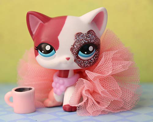 PowerToy lps Figure, lps Shorthair Cat 2291 Pink and White Blue Eyes 2 inch Collectable Pets with lps Accessories Kids Gift (lps Shorthair cat 2291)