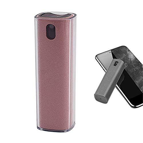 Botella de spray de limpieza de pantalla 2 en 1 con paño de microfibra, limpiador de niebla limpia instantáneamente teléfono, tableta, TV, ordenador portátil (rosa con funda)