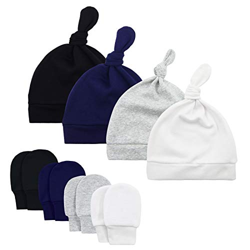 American Trends Baby Hat Mittens Newborn Hats for Boys Baby Hats 0-6 Months Winter Beanie Caps 4 Pack Black White Gray Navy