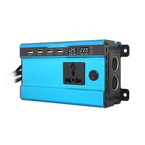 Rosepoem Onduleur Solaire 100W / 200W DC 12V 24V à 220V AC, Adaptateur Chargeur de Chargeur de Voiture avec Prise Secteur Universelle 4 Interface USB et Allume-Cigarette