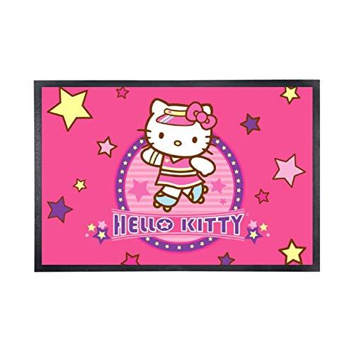 Alfombra de suelo no tejida, cómoda, alfombra de entrada de goma, color rosa, diseño Hello Kitty (2)