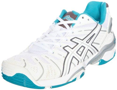Asics ASICS 4digital Media Asia Gel Resolution 4 Womens, Damen Tennisschuhe, Weiß - Bianco (White/Lightning/Carbon) - Größe: 42 (8 UK)