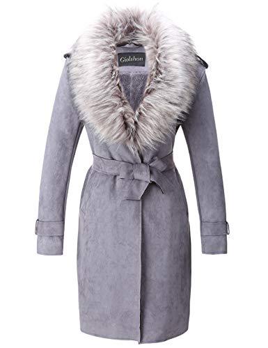 Giolshon Damen Kunstleder Outwear Regenmantel Strickjacke, Lange Jacke mit Kunstpelzkragen Grau L