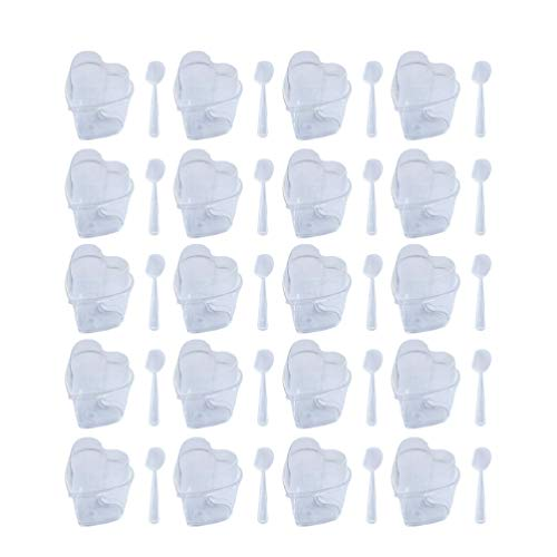 BESTOYARD デザートカップ ゼリーカップ 使い捨て プリンカップ 150ml 透明 ハート形 プラスチック製 フタ付 ムース 製菓用品 20セット(カップ+スプーン+蓋)