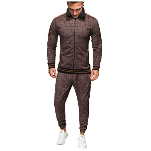 AOGOTO Mens Plaid 2Pc Zipper Trainingsanzug, Herbst gedruckt Sweatshirt Top Hosen Sets Sportanzug Trainingsanzug