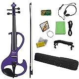 ANTENM Professional 4/4 Electric Violin Fiddle Instrumento de Cuerda Fiddle eléctrico púrpura con Caja de Cables for los Amantes de la música (Color : 4-4 Electric Violin)