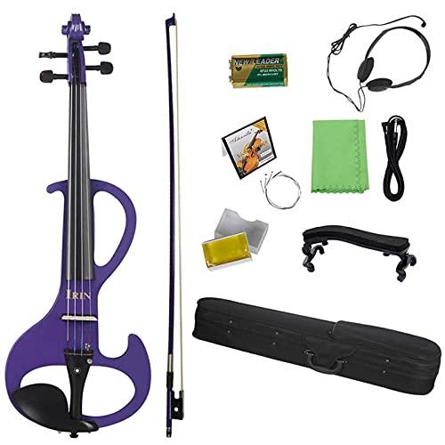 ANTENM Professional 4 4 Electric Violin Fiddle Instrumento de Cuerda Fiddle eléctrico púrpura con Caja de Cables for los Amantes de la música (Color : 4-4 Electric Violin)