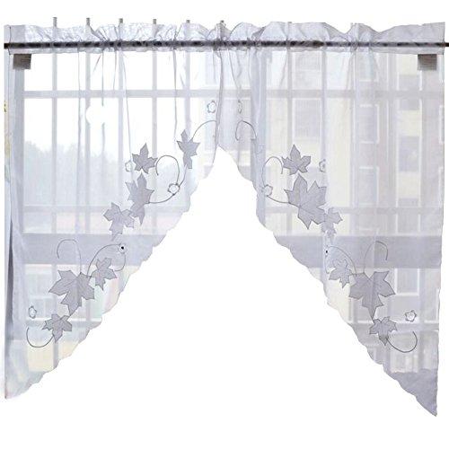 Süße Blatt Blume gestickte Vorhang Küche Vorhang Kaffee Screen-EIN Paar