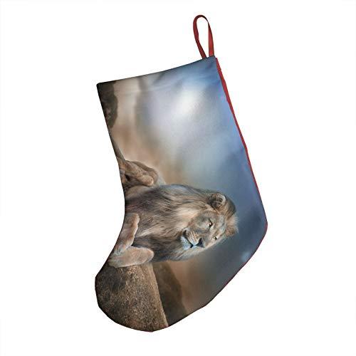 Big Lion Christmas Stockings, 18' Big Xmas Stockings, Polyester Classic Plush Mercerized Velvet Stockings Santa Gift for Family Holiday Xmas Party Decorations
