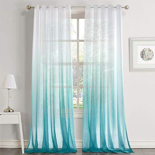 Dreaming Casa Rideaux Voilages Blanc Dégradé de Couleur Bleu A Oeillet Voilage Ombre Transparent Décor de Fenêtre Salle de Bain Balcon Chambre 2 Panneaux 140X240CM