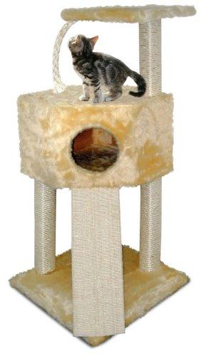 Cat Dream Kratzbaum, Katzenhöhle, Kratzstamm, Eckboy, in blau, Maße: ca. 112 cm hoch