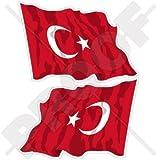 TÜRKEI Turkish Wehende Flagge, Fahne TÜRKIYE, Türkei 120mm Auto & Motorrad Aufkleber, x2 Vinyl Stickers (Links - Rechts)
