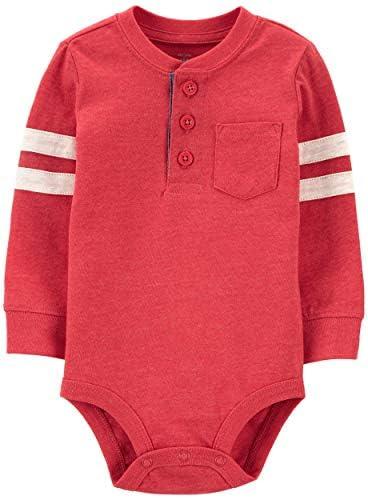 Osh Kosh Baby Boys Pocket Henley Bodysuit Better Off Red 6 Months product image