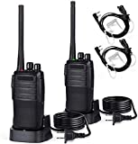 Two Way Radios Long Range Rechargeable Walkie Talkies for Adults - Portable FRS Two-Way Radios with Earpiece - Handheld 16 Channels Radio Walkie Talkie (2 Pack)