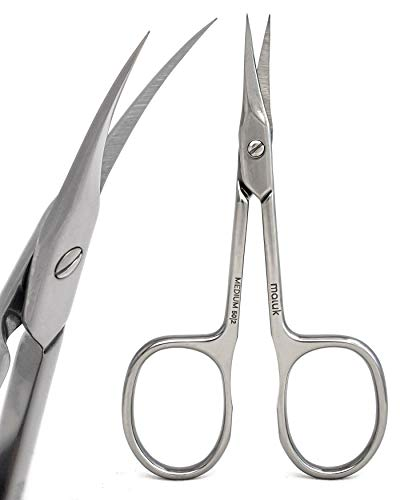 Maluk Professional Cuticle Scissors Extra Fine Curved Medium SE-50/2 13/16 Inch (21 Mm) | Stainless Steel Manicure Pedicure Care Tools Nail | Eyebrow Beard Moustache Eyelash Trimming Expert 50 Type 2