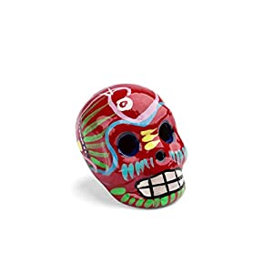 FANMEX - Fantastik - Calavera Mexicana Decorativa de cerámica Mini (Rojo/Color)