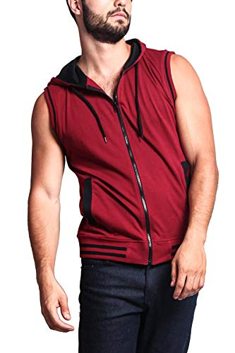Victorious Men's Lightweight Athletic Casual Sleeveless Contrast Zipper Hoodie TH890 - Burgundy/Black - Large - HH1B
