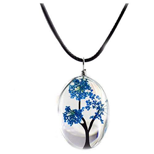Fliyeong Premium Gypsophila Lebensbaum Getrocknete Pflanze Blume Anhänger Halskette DIY Handgefertigte Glasschmuck Zubehör Königsblau