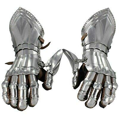 Medieval Gloves Polished Knights Renaissance Templar Armored Gauntlets Brown