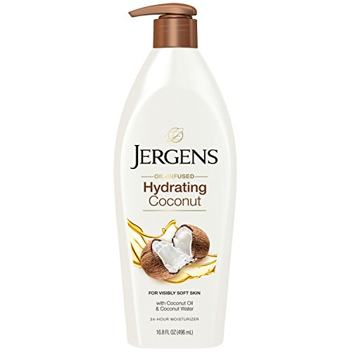 Jergens Hydrating Coconut Body Moisturizer, 16.8 Ounce, Infused with Coconut Oil and Water for Long-Lasting Moisture, Hydrates Dry Skin Instantly, Dermatologist Tested (Packaging May Vary)