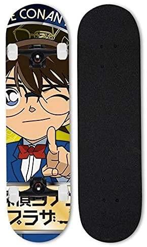 ZZYYII Detective Conan: Conan EDOGAWA Siete-Capas Mapate Mapate Anime Doble Tild Scooter Principiantes Comenzar Pincel Street Skateboard Doble Tild Four Wheel Skateboard Mejor Regalo