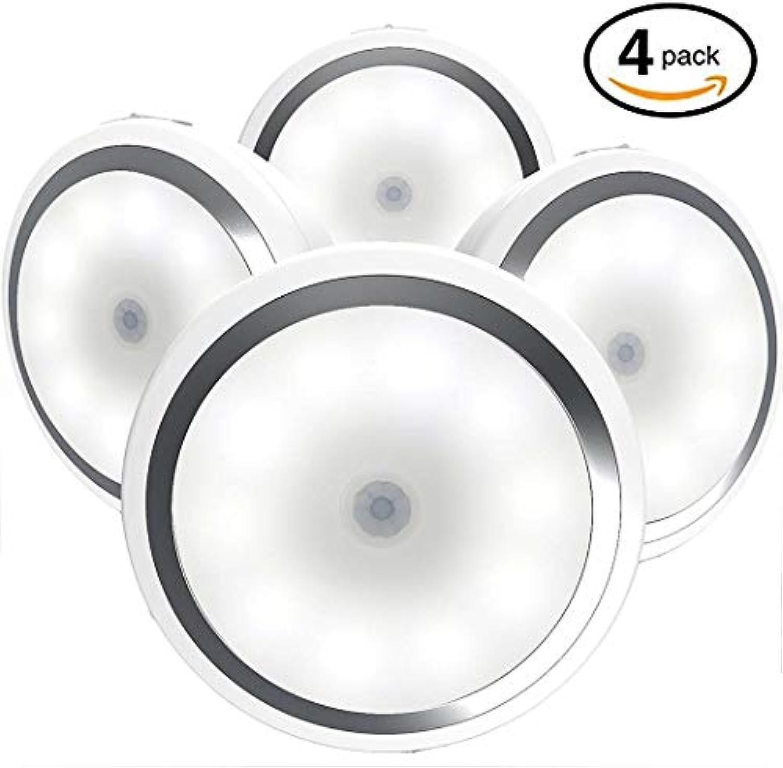 YDYG Bewegungsmelder-Schrankbeleuchtung, 10 LED-Wireless-Unterbettbeleuchtung, Stick-on überall magnetische Nachtlampe für Schrank-Küche (4er Pack