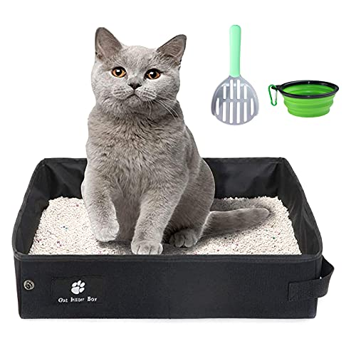Lettiera portatile per gatti da viaggio, morbida, impermeabile, pieghevole e leggera, con 1 ciotola pieghevole e 1 paletta (nero, 45 x 35 cm)