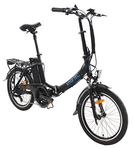 smartEC Camp-20D Klapprad E-Bike, 20 Zoll, Anfahrhilfe, 7 Gänge, Fahrunterstützung 25 km/h, Reichweite 100 km, Samsung Li-Ion-Akku 36V/250 Watt, Nabenmotor (Schwarz)