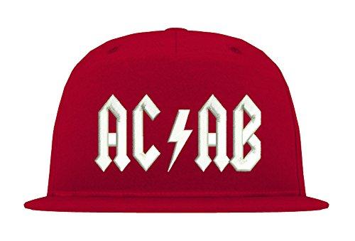 TRVPPY ACAB B610 - Gorra de 5 paneles blanco y rojo Talla...
